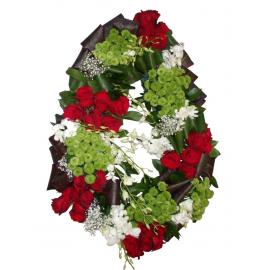 Coroana funerara trandafiri, santini, orhidee