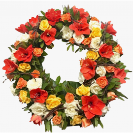 Coroana funerara amaryllis si trandafiri