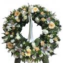 Coroana funerara trandafiri, gerbera si orhidee