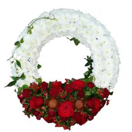 Gerbera & roses funeral wreath